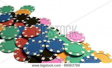 Many Of Casino Chips White Background