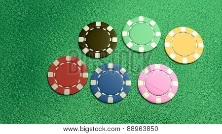 Single Of 6 Casino Chips Top