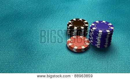 Casino Chips Isolate Blue Table
