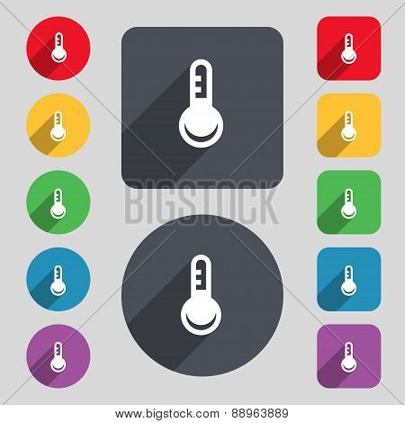 Thermometer, Temperature Icon Sign. A Set Of 12 Colored Buttons And A Long Shadow. Flat Design. Vect