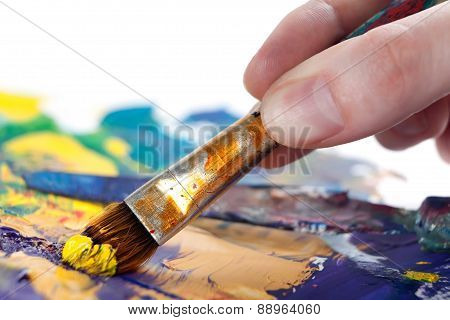 painting picture with paintbrush