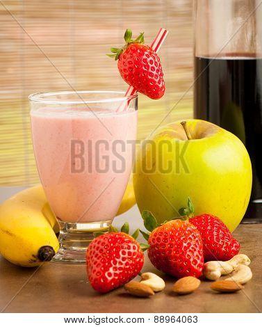 Strawberry Smoothie Refreshing Fruit Meal - Healthy Vegetarian Food