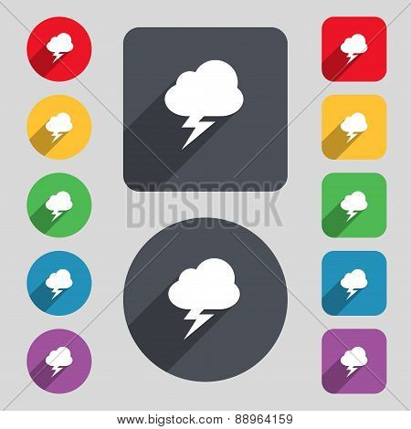 Storm Icon Sign. A Set Of 12 Colored Buttons And A Long Shadow. Flat Design. Vector