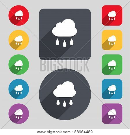 Weather Rain Icon Sign. A Set Of 12 Colored Buttons And A Long Shadow. Flat Design. Vector