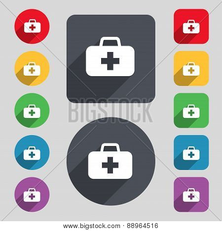 Medicine Chest Icon Sign. A Set Of 12 Colored Buttons And A Long Shadow. Flat Design. Vector