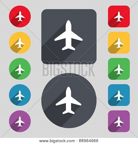Airplane, Plane, Travel, Flight Icon Sign. A Set Of 12 Colored Buttons And A Long Shadow. Flat Desig