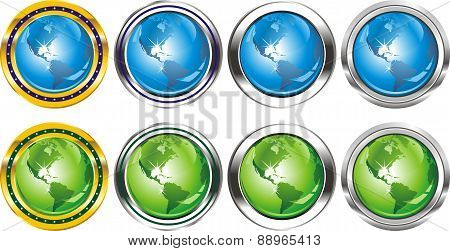 Buttons The Earth In Green And Blue-signs [