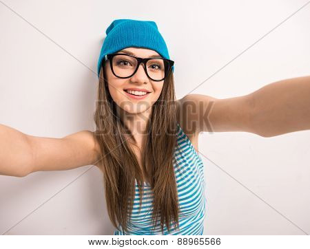 Teenage Girl Making Selfie