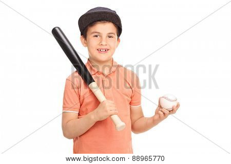 Cute little boy with a baseball cap holding a baseball bat and a ball isolated on white background