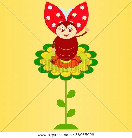 Flower Vector on Yellow Background, Insect Vector, Ladybug Vector