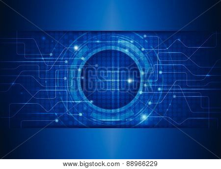 Abstract Future Digital-circuit Board Electronic Technology Blue Background