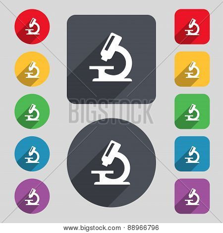 Microscope Icon Sign. A Set Of 12 Colored Buttons And A Long Shadow. Flat Design. Vector