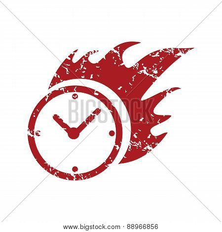 Red grunge hot clock logo