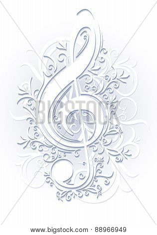 Abstract musical background with treble clef in cut of paper style. Vector illustration for your des