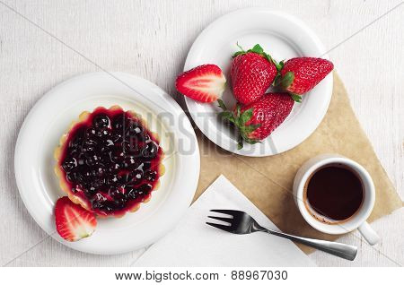 Cake With Black Currants, Strawberry And Coffee