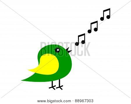 Cartoon Bird Sings