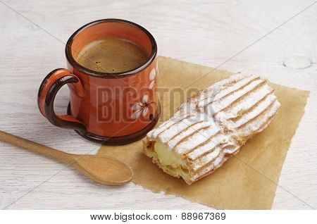 Cake With Creamy And Coffee Cup