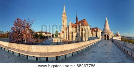 Fishermans Bastion And Church In Budapest, Hungary - Panorama