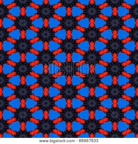 Seamless Abstract Symmetrical Hexagonal Structure Of Black Dots Connected With Red Lines On The Blue