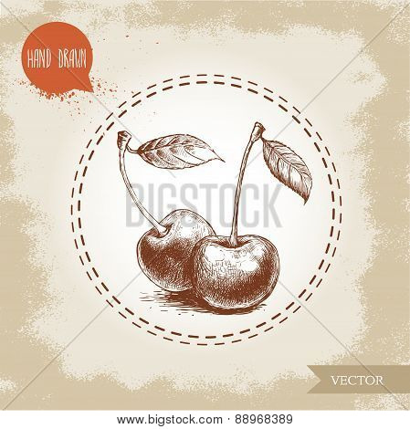 Hand drawn cherries isolated on vintage background.Retro sketch style vector eco food illustration