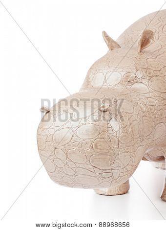 Toy hippopotamus isolated on white background