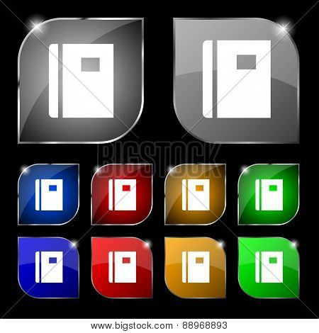 Book Icon Sign. Set Of Ten Colorful Buttons With Glare. Vector