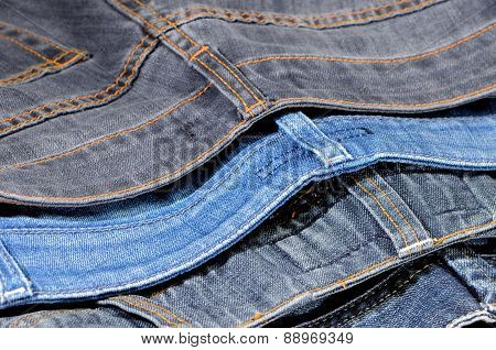 Upper Parts Of Colored Jeans