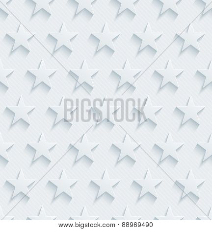 Light perforated paper with cut out effect. 3d stars seamless background. Vector EPS10.