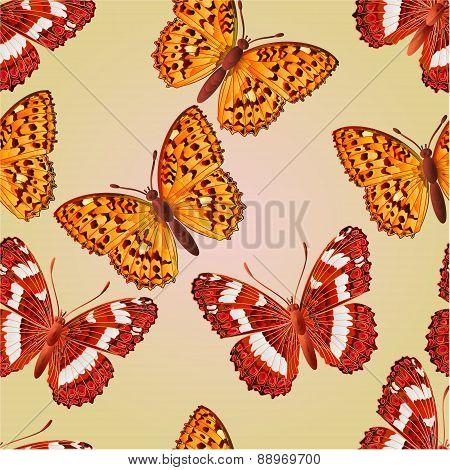 Seamless Texture Butterfly Limenitis Camilla And Argynnis Aglaja Vector