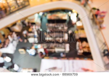 Blur Background Photograph Of The Ground Floor With People And Booths In An Indoor Building, Shoot F