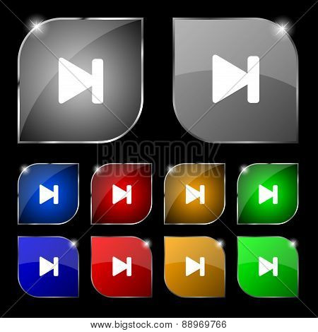 Next Track Icon Sign. Set Of Ten Colorful Buttons With Glare. Vector