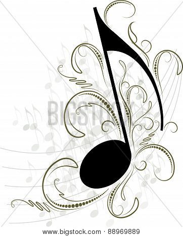 Musical note with decorative branches and shadow. Vector illustration for your design.