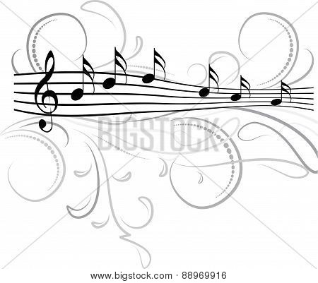 Treble clef and musical notes with decorative floral swirls. Vector illustration for your design.