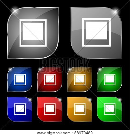 Photo Frame Template Icon Sign. Set Of Ten Colorful Buttons With Glare. Vector