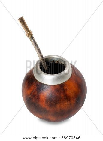 Calabash Gourd With Bombilla On White Background