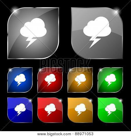 Storm Icon Sign. Set Of Ten Colorful Buttons With Glare. Vector