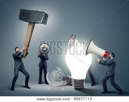 Many businessmen with megaphones