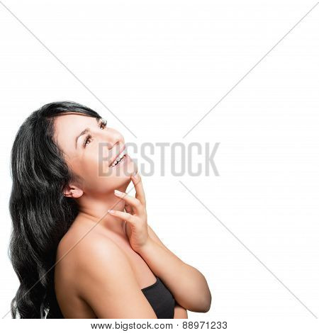Portrait of a beautiful young happy girl on a white background.