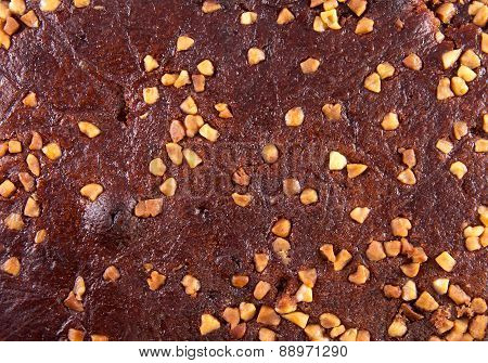 Background from gingerbread with nuts