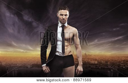 Businessman as an athlete fighter