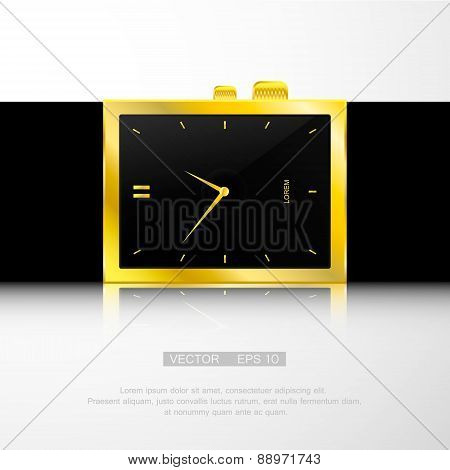 Vector illustration of gold watch with black face