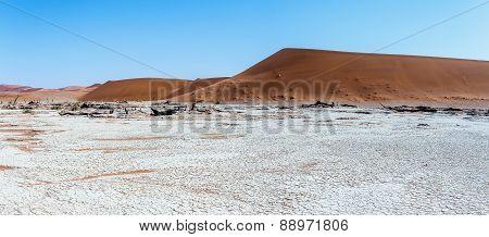 Beautiful Landscape Of Hidden Vlei In Namib Desert Panorama