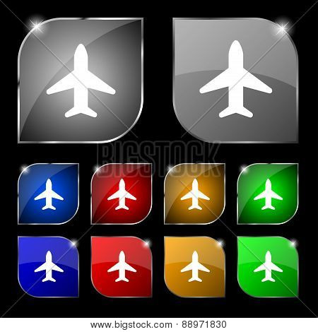 Airplane, Plane, Travel, Flight Icon Sign. Set Of Ten Colorful Buttons With Glare. Vector