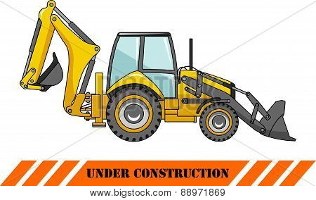 Backhoe loader. Heavy construction machines. Vector illustration