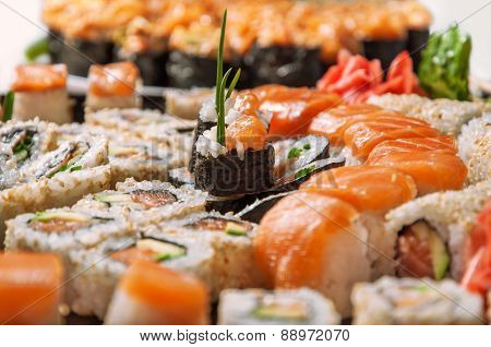 Appetizing sushi set