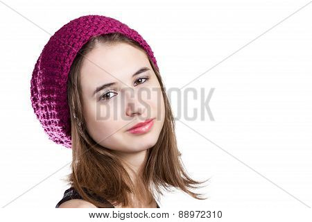Portrait of girl in winter hat