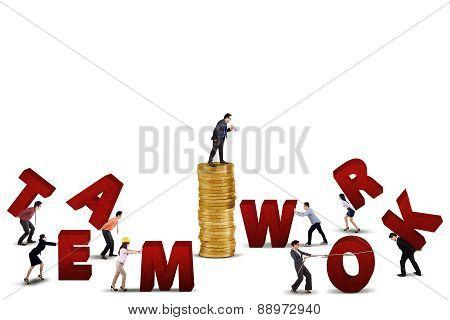 Businessteam Working To Build Teamwork Text