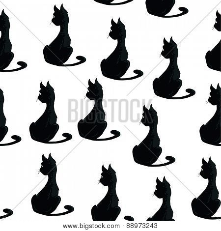 black cat seamless pattern