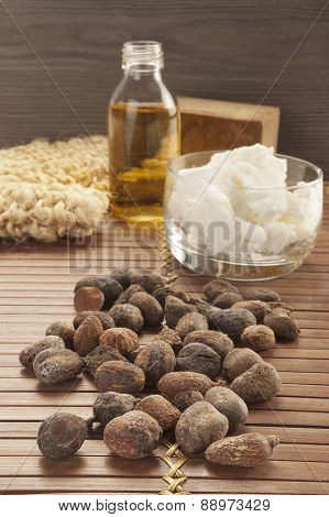 Shea Nuts On A Natural Background