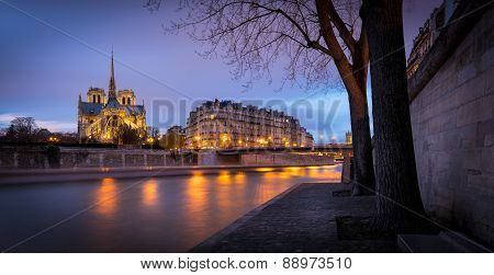 Notre Dame Cathedral, Twilight On Ile De La Cite, Paris